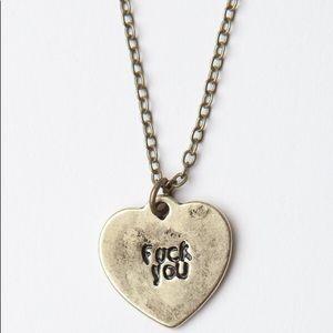 Brandy Melville FU Heart Necklace